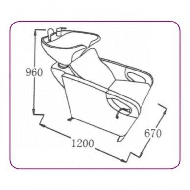 Plautuvė kirpykloms su krėslu ir keramikine praustuve 583-1, juoda 3