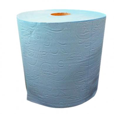 Popieriniai rankšluoščiai rulone lapeliais, 2 sluoksniai, 300 metrų, mėlynos sp.