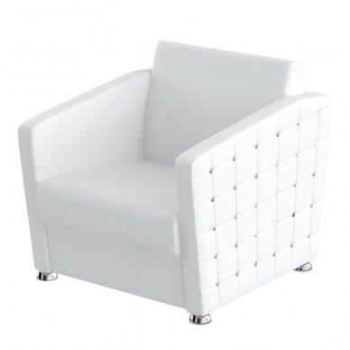 Prabangus kirpyklos laukiamojo fotelis SWAN su kristalais, baltos sp.