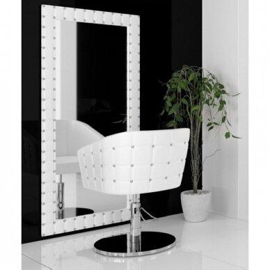 Prabangus kirpyklos veidrodis SWAN su kristalais, baltos sp. 2