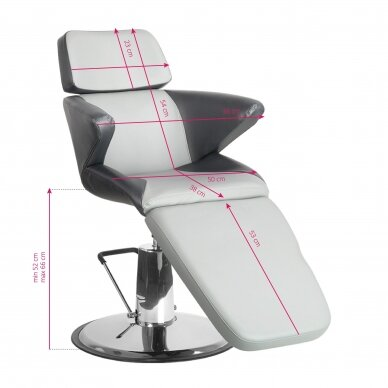 Profesionali kosmetologinė kėdė A330, juodos/pilkos sp. 8