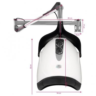 Profesionalus plaukų džiovintuvas, tvirtinamas HOOD DX-201W, baltos sp. 2