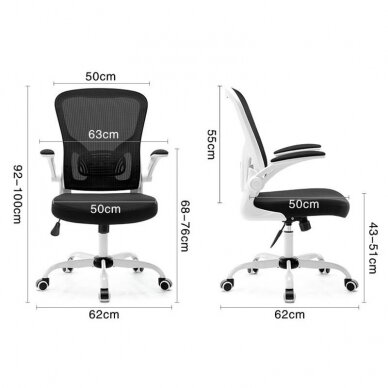 Registratūros kėdė COMFORT 73, baltos/juodos sp. 5