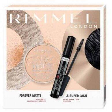 RIMMEL kosmetikos rinkinys: Extra Super Lash blakstienų tušas + Stay Matte ilgai išliekanti pudra 4