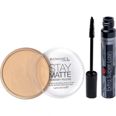 RIMMEL kosmetikos rinkinys: Extra Super Lash blakstienų tušas + Stay Matte ilgai išliekanti pudra 2