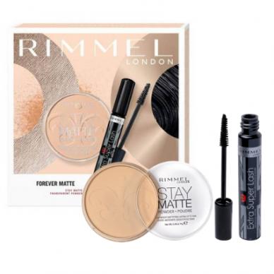 RIMMEL kosmetikos rinkinys: Extra Super Lash blakstienų tušas + Stay Matte ilgai išliekanti pudra