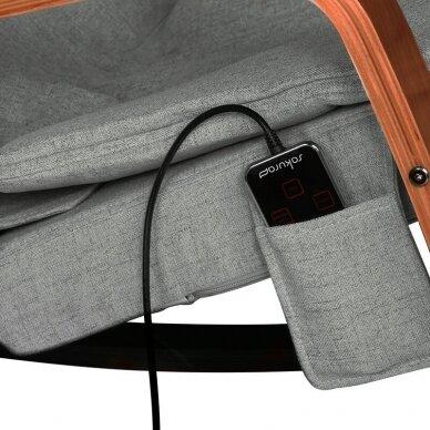 SAKURA RELAX supama kėdė su masažo funkcija, pilkos sp. 3