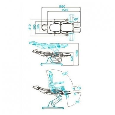 Pedikiūro krėslas AZZURRO  870S PEDI CAPPUCCINO 3