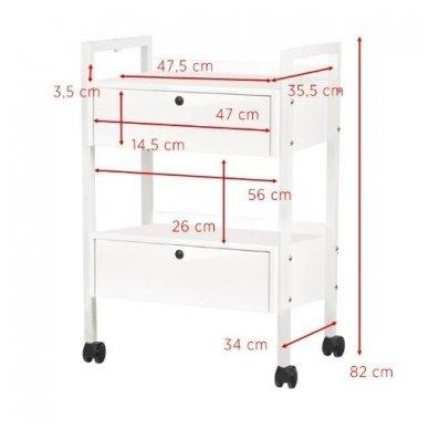 Kosmetologinis metalinis vežimėlis TYP 1019 SF, baltos sp. 3
