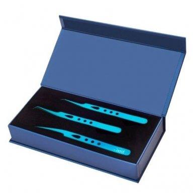 SOFI LASHES pincetų rinkinys blakstienoms TITANIUM BLUE