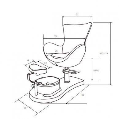 SPA pedikiūro krėslas Weelko CREAM su įmontuotu pakoju ir pedikiūro dubeniu 3