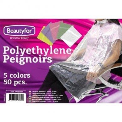 Spalvoti peniuarai iš polietileno, 5 spalvų, 50 vnt.