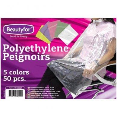 Spalvoti peniuarai iš polietileno, 5 spalvų, 50 vnt. 2