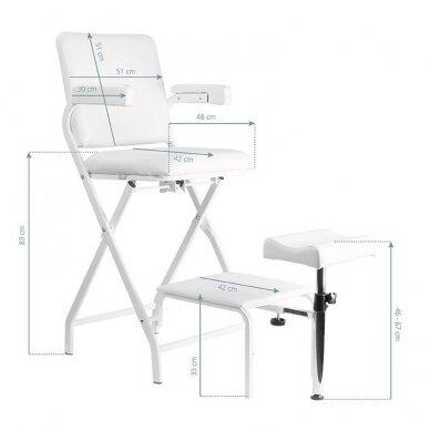 Sulankstoma kosmetologinė/pedikiūro kėdė P611, baltos sp. 4