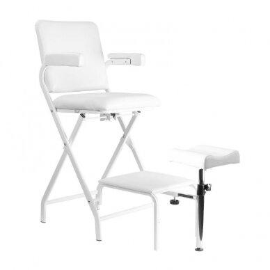 Sulankstoma kosmetologinė/pedikiūro kėdė P611, baltos sp.