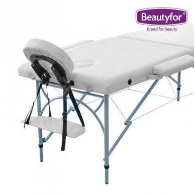 Sulankstomas masažo stalas su aliuminio rėmu, baltos sp. 2