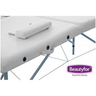Sulankstomas masažo stalas su aliuminio rėmu, baltos sp. 3