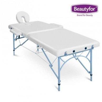 Sulankstomas masažo stalas su aliuminio rėmu, baltos sp.