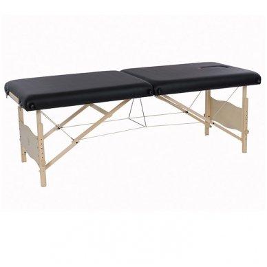 Sulankstomas masažo stalas Weelko su mediniu rėmu PLENIC, juodos sp.