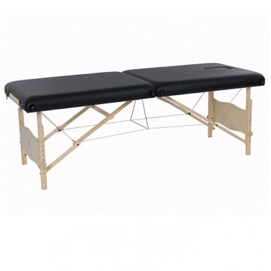 Sulankstomas masažo stalas su mediniu rėmu PLENIC, juodos sp.