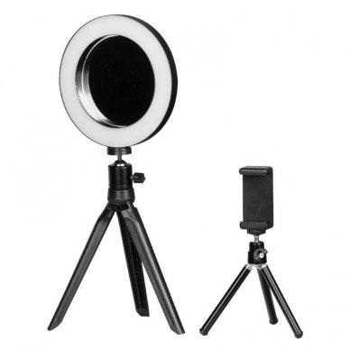 Lempa RING MINI 6 su veidrodžiu ir telefono laikikliu