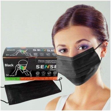 Trisluoksnės veido kaukė su nosies fiksatoriumi, juodos sp. 50 vnt. 2