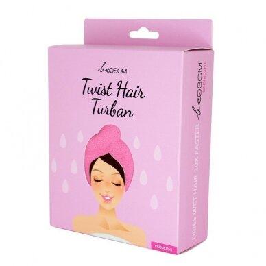 Turbanas plaukams be OSOM Twist Hair Turban, rausvos sp.
