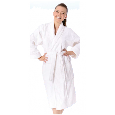 Vaflinis baltas chalatas-kimono, 100 % medvilnė, 1 vnt.