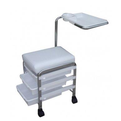 Vežimėlis manikiūrui ir pedikiūrui su 3 stalčiais CH-5005, baltos spalvos