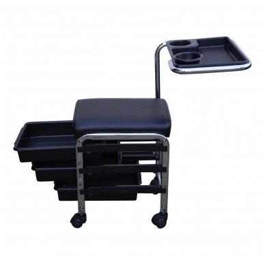 Vežimėlis manikiūrui ir pedikiūrui su 3 stalčiais CH-5005, juodos spalvos