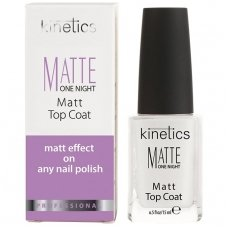 Viršutinė nagų lako danga Kinetics Matte One Night Matt Top Coat KMAT, matinė, 15 ml