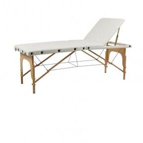 Weelko sulankstoma 3 dalų masažo Sella lova su medžio rėmu, baltos sp.