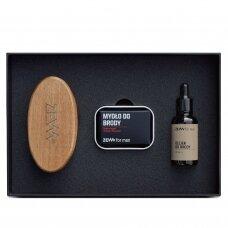 ZEW FOR MEN Simple Lumberjack barzdos priežiūros rinkinys (muilas+muilinė, šepetys, aliejus)